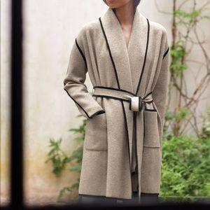 Italian Plush Melange belted Cardigan coat